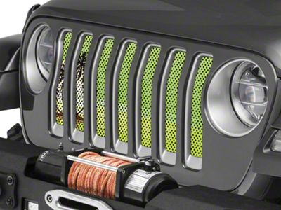 Under the Sun Grille Insert - Endless Summer Hyper Green Palm Tree (2018 Jeep Wrangler JL)