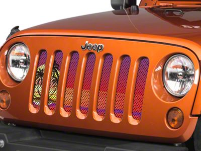 Under the Sun Grille Insert - Endless Summer Red Palm Tree (07-18 Jeep Wrangler JK)