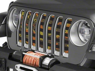 Under the Sun Grille Insert - Fall Colors Camo Stars and Stripes (2018 Jeep Wrangler JL)