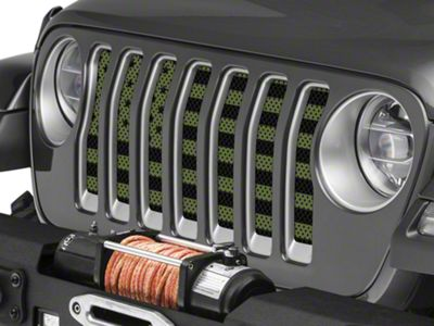 Under the Sun Grille Insert - Olive Drab Old Glory Black Stars and Stripes (2018 Jeep Wrangler JL)