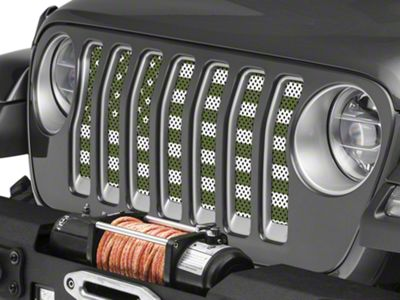 Under the Sun Grille Insert - Olive Drab Old Glory White Stars and Stripes (2018 Jeep Wrangler JL)