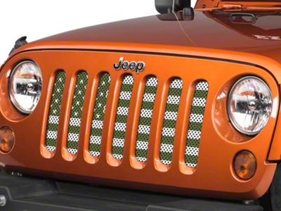 Under the Sun Grille Insert - Olive Drab Old Glory White Stars and Stripes (07-18 Jeep Wrangler JK)