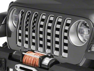 Under the Sun Grille Insert - Paws Black and White (2018 Jeep Wrangler JL)