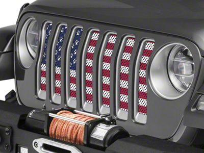 Under the Sun Grille Insert - Paws Old Glory (2018 Jeep Wrangler JL)