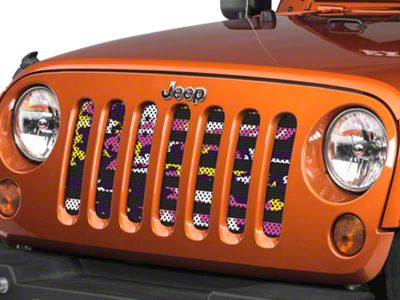 Under the Sun Grille Insert - Purple, Pink and Yellow Camo Stars and Stripes (07-18 Jeep Wrangler JK)