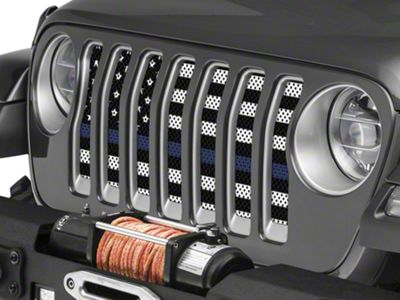 Under the Sun Grille Insert - Thin Blue Line Black and White (2018 Jeep Wrangler JL)