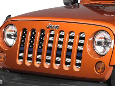 Under the Sun Grille Insert - Thin Blue Line Black and White (07-18 Jeep Wrangler JK)
