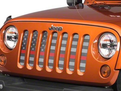Under the Sun Grille Insert - Thin Red Line (07-18 Jeep Wrangler JK)