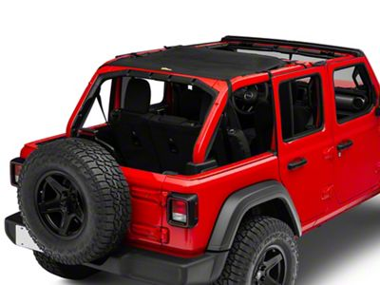Dirty Dog 4x4 Rear Sun Screen - Black (18-19 Jeep Wrangler JL 4 Door)