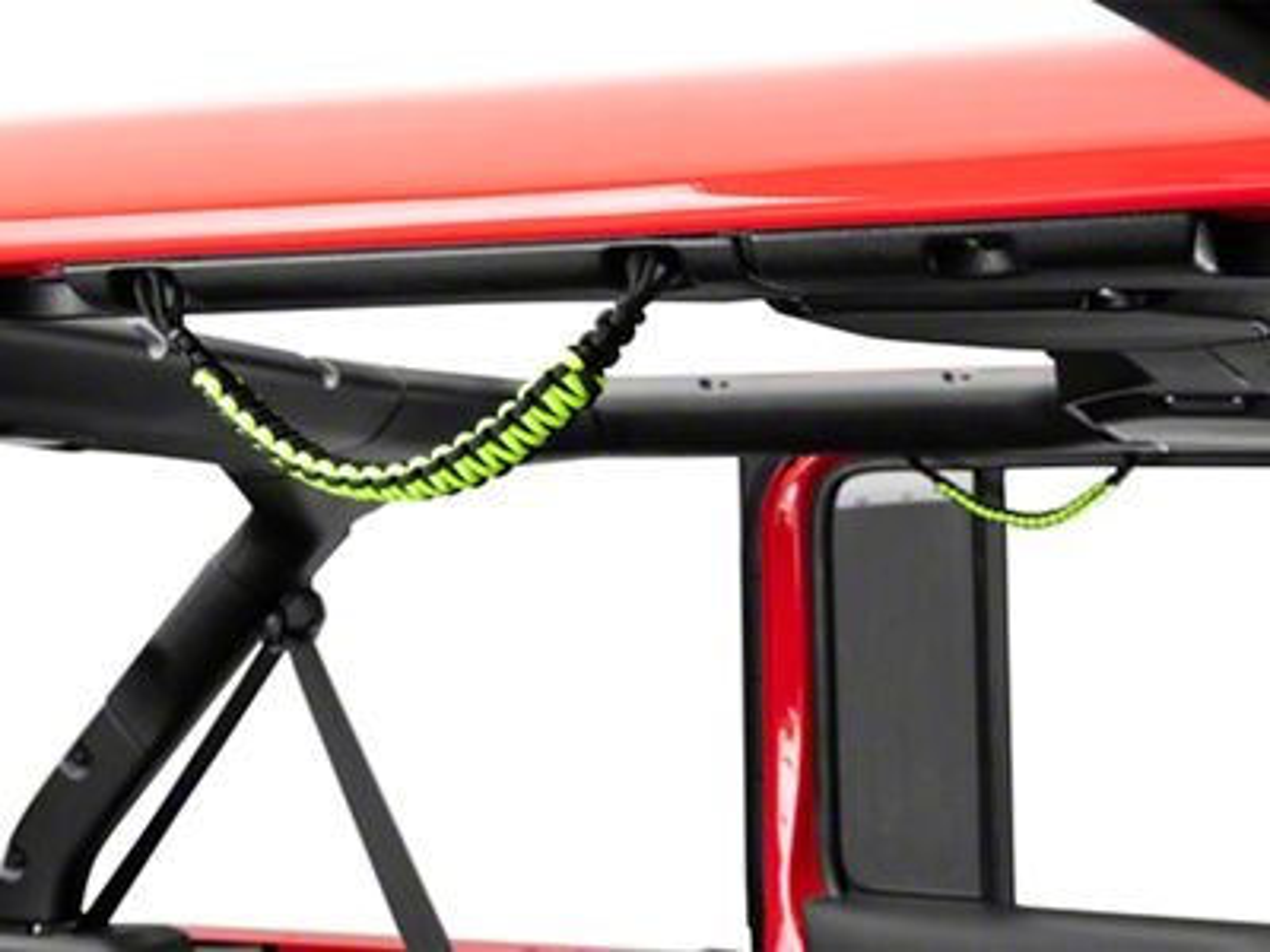 Alterum Rear Soundbar Paracord Grab Handles - Black and Neon Green (07-18 Jeep Wrangler JK 4 Door; 18-19 Jeep Wrangler JL 4 Door)