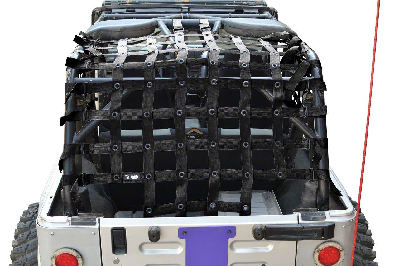 Steinjager Rear Teddy Top Premium Cargo Net - Black (04-06 Jeep Wrangler TJ Unlimited)
