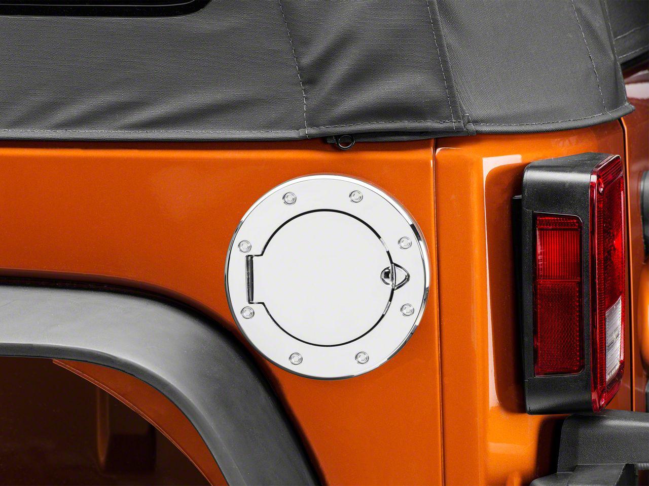 Rugged Ridge Aluminum Non-Locking Fuel Door Cover - Chrome (07-18 Jeep Wrangler JK)