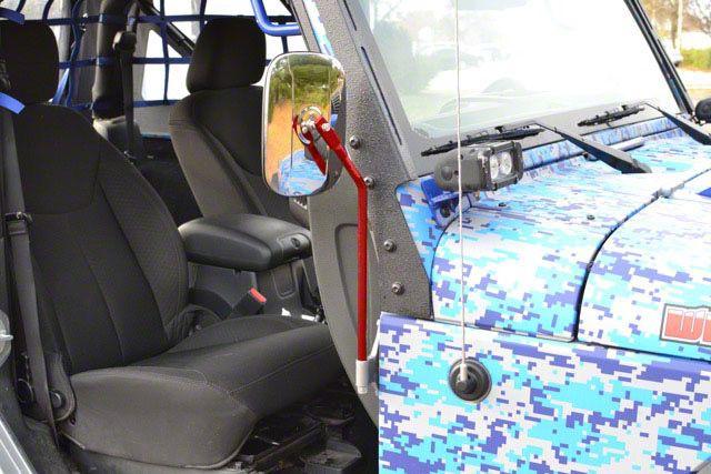 Steinjager Door Hinge Mounted Mirrors - Red Baron (07-18 Jeep Wrangler JK)