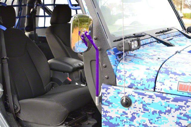 Steinjager Door Hinge Mounted Mirrors - Sinbad Purple (07-18 Jeep Wrangler JK)