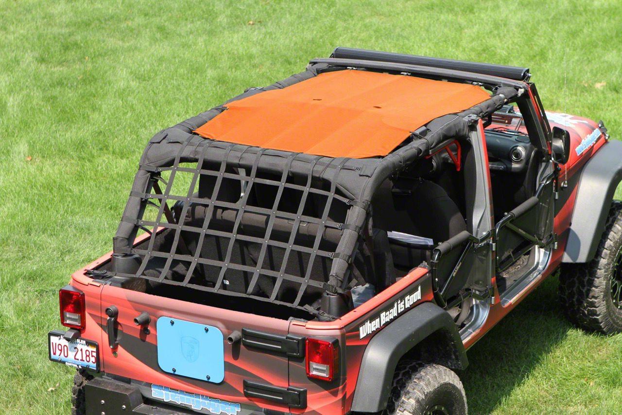 Steinjager Teddy Top Solar Screen Cover - Orange Mesh (10-18 Jeep Wrangler JK 4 Door)