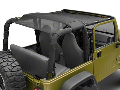 Steinjager Teddy Top Full Length Solar Screen Cover - Black (97-06 Jeep Wrangler TJ, Excluding Unlimited)