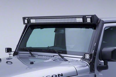 Go Rhino WLF Windshield Light Frame for 40 in. LED Light Bar & Two 3 in. Cube Lights (07-18 Jeep Wrangler JK)