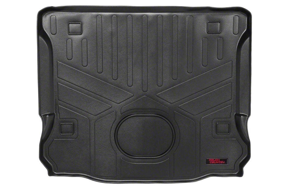 Rough Country Heavy Duty Cargo Liner Floor Mat - Black (15-18 Jeep Wrangler JK 4 Door)
