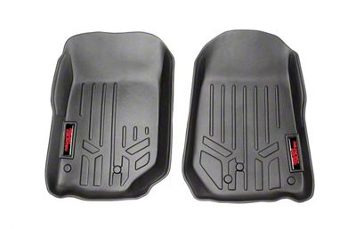 Rough Country Heavy Duty Front Floor Mats - Black (07-13 Jeep Wrangler JK)