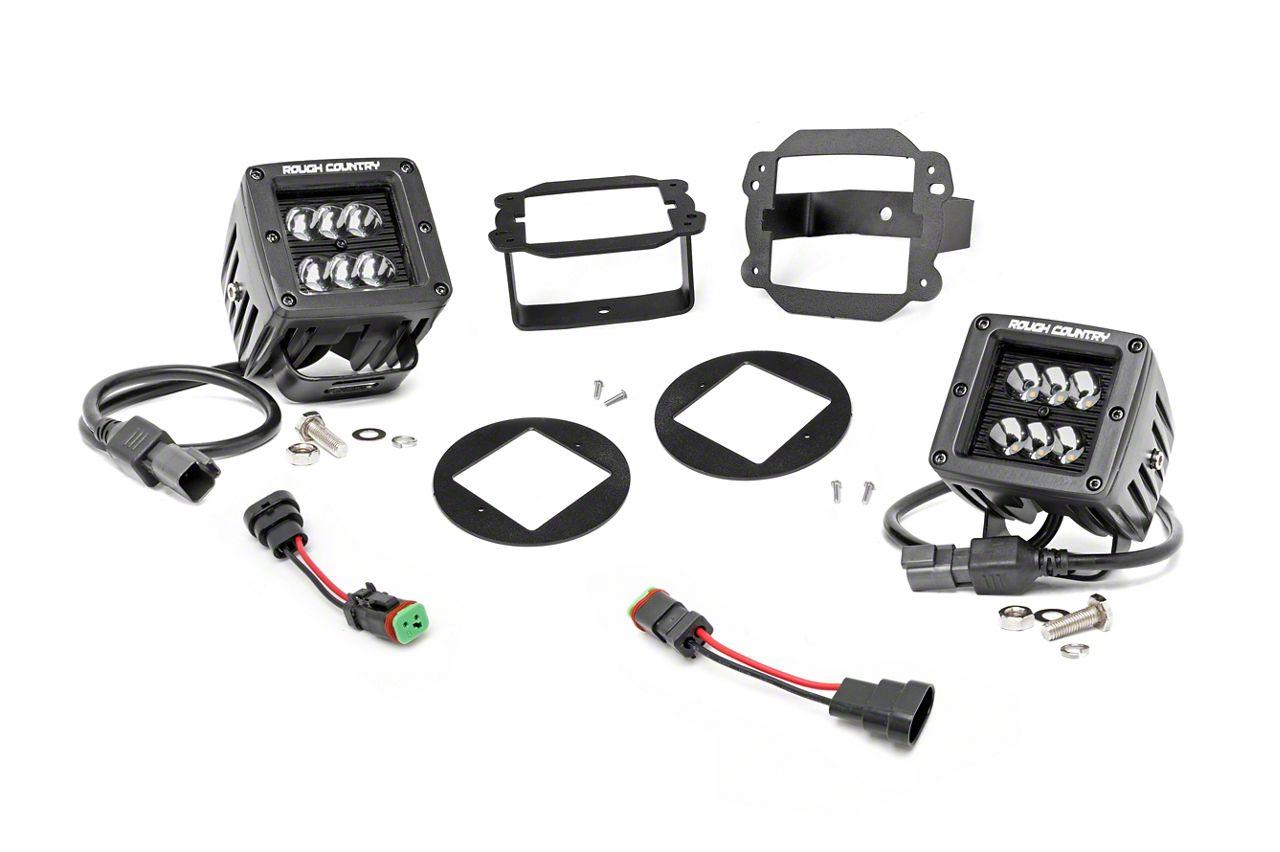 Rough Country Black Series LED Fog Light Kit (07-09 Jeep Wrangler JK)