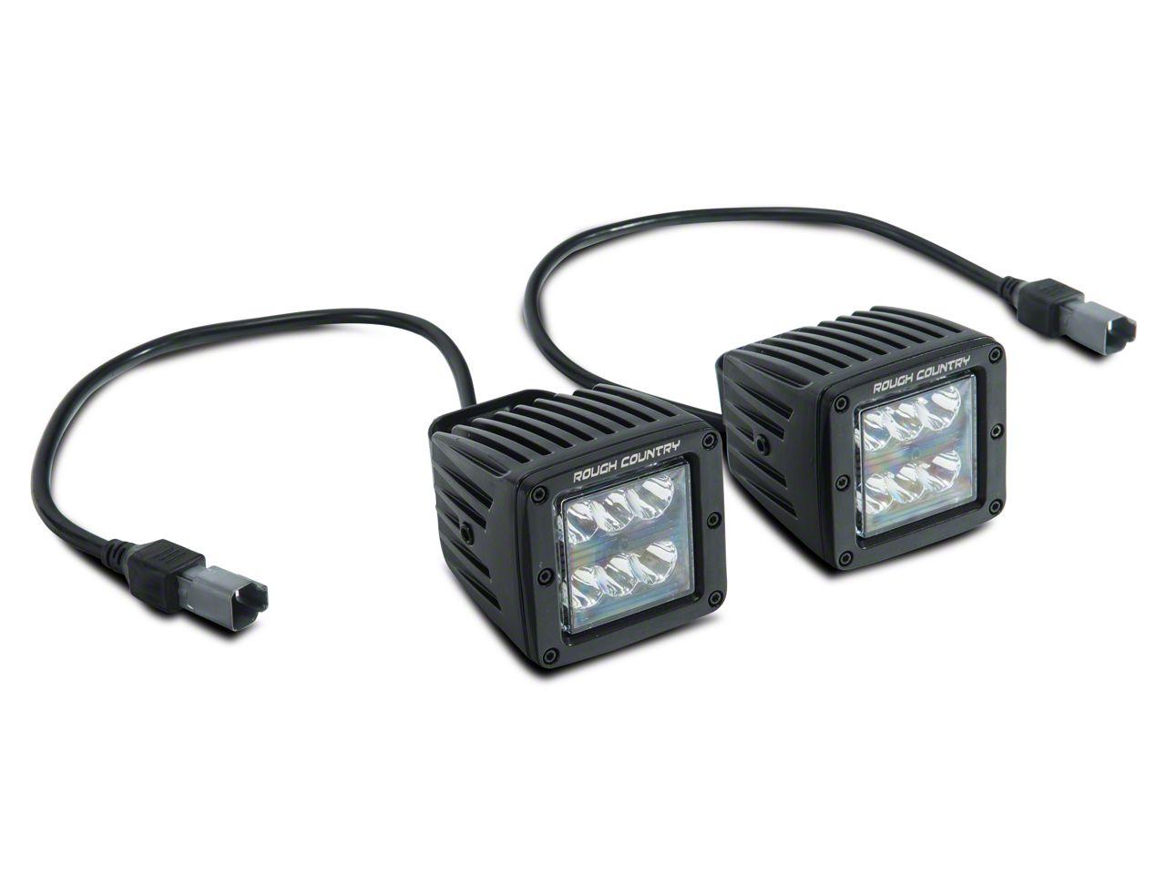 Rough Country Black Series LED Fog Light Kit (10-18 Jeep Wrangler JK)