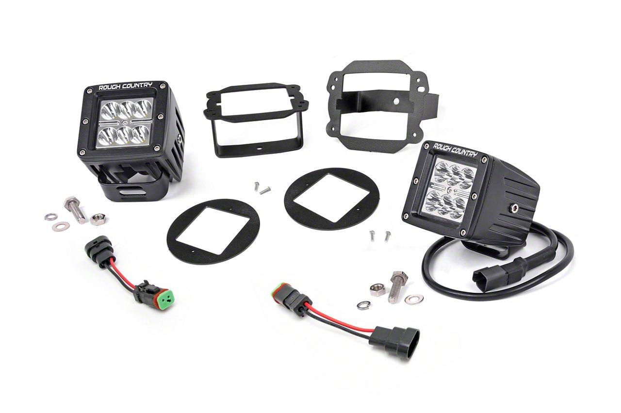 Rough Country Chrome Series LED Fog Light Kit (10-18 Jeep Wrangler JK)