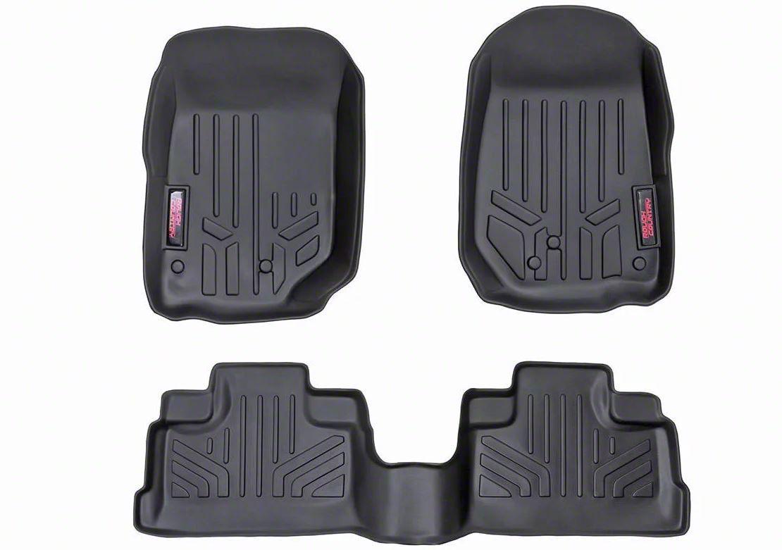 Rough Country Heavy Duty Front & Rear Floor Mats - Black (07-13 Jeep Wrangler JK 4 Door)