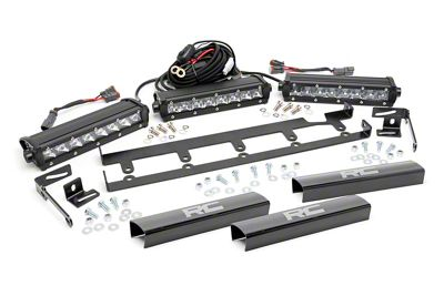Rough Country 8 in. Chrome Series Vertical LED Light Bar Grille Kit - 3 Lights (07-18 Jeep Wrangler JK)