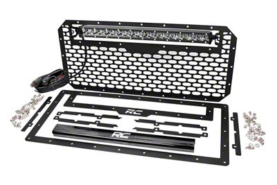 Rough Country Mesh Replacement Grille w/ 20 in. Chrome Series Single Row LED Light Bar (07-18 Jeep Wrangler JK)