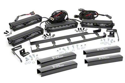 Rough Country 8 in. Black Series Vertical LED Light Bar Grille Kit - 4 Lights (07-18 Jeep Wrangler JK)