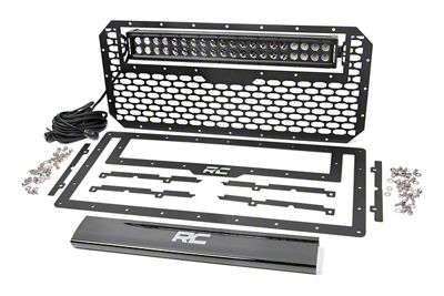 Rough Country Mesh Replacement Grille w/ 20 in. Black Series Dual Row LED Light Bar (07-18 Jeep Wrangler JK)