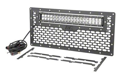 Rough Country Mesh Replacement Grille w/ 20 in. Chrome Series Dual Row LED Light Bar (07-18 Jeep Wrangler JK)