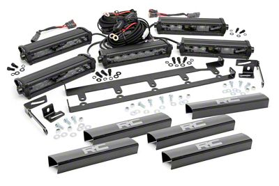 Rough Country 8 in. Black Series Vertical LED Light Bar Grille Kit - 5 Lights (07-18 Jeep Wrangler JK)