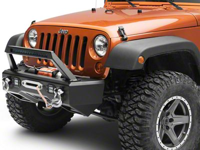 Rough Country Black Series LED Stubby Front Bumper w/ Light Bar Hoop & Winch Mount (07-18 Jeep Wrangler JK)