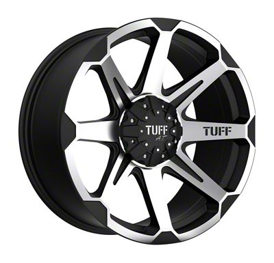 Tuff A.T. T05 Flat Black Machined Wheel - 22x10 (87-06 Jeep Wrangler YJ & TJ)