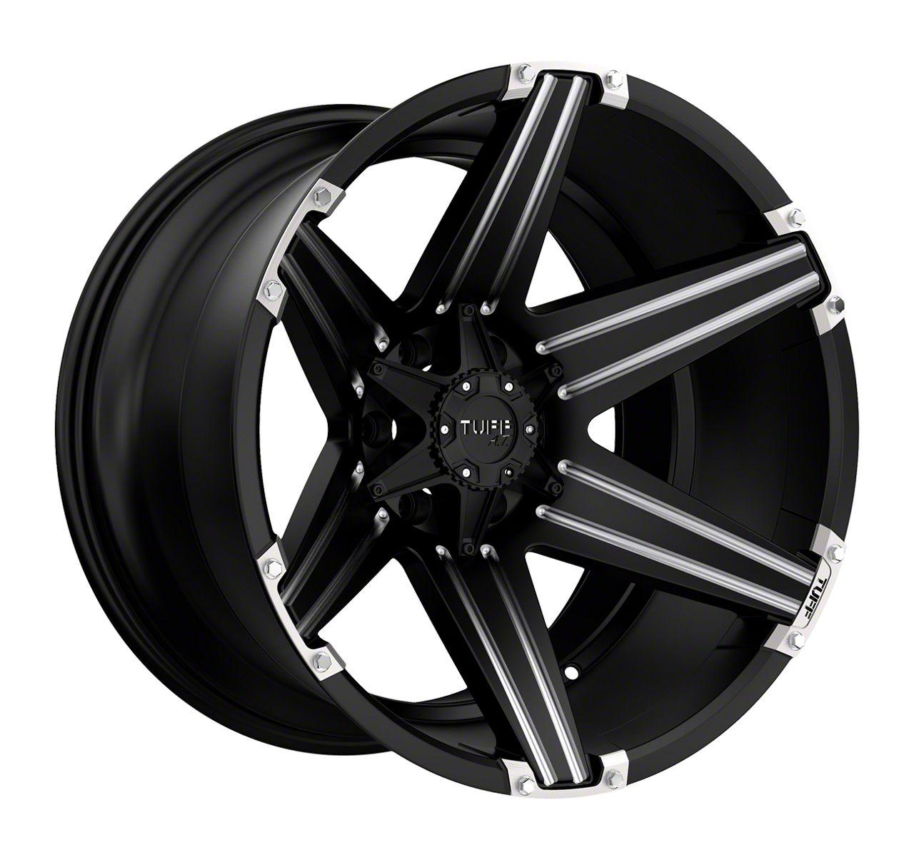 Tuff A.T. T12 Satin Black Milled w/ Brushed Inserts Wheel - 22x12 (87-06 Jeep Wrangler YJ & TJ)