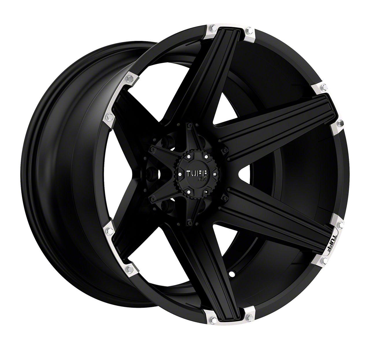 Tuff A.T. T12 Satin Black w/ Brushed Inserts Wheel - 20x12 (87-06 Jeep Wrangler YJ & TJ)