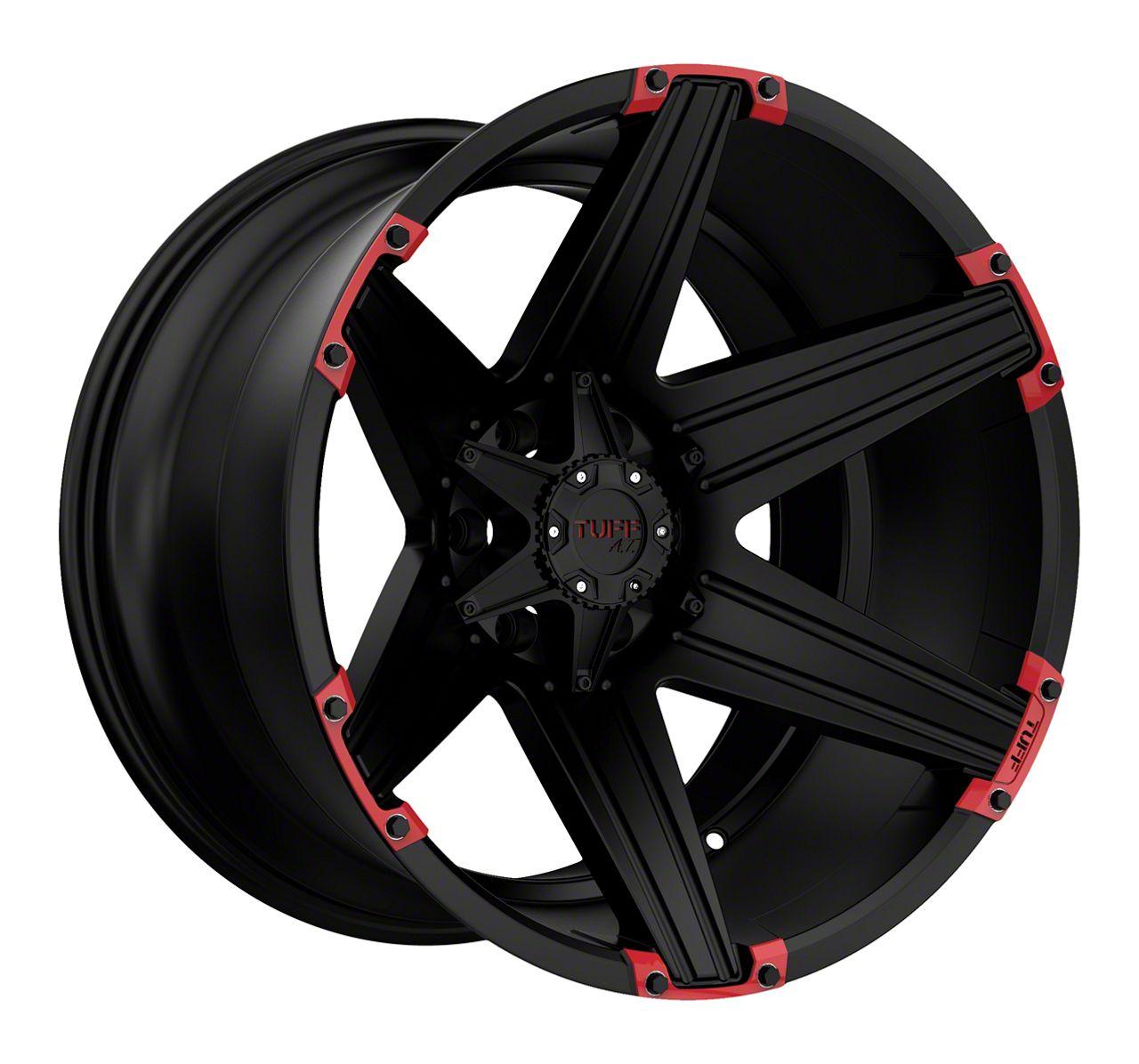 Tuff A.T. T12 Satin Black w/ Red Inserts Wheel - 20x12 (87-06 Jeep Wrangler YJ & TJ)