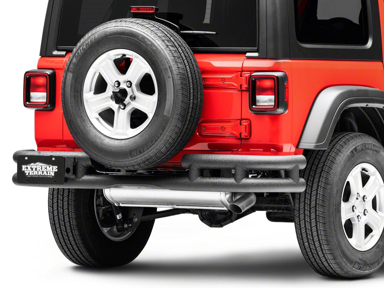 RedRock 4x4 Tubular Rear Bumper w/ Wrap Around - Textured Black (2018 Jeep Wrangler JL)