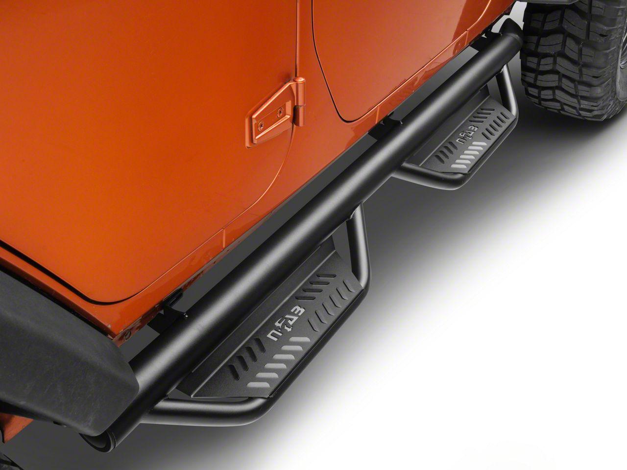 N-Fab Cab Length Podium Nerf Side Step Bars - Textured Black (07-18 Jeep Wrangler JK 4 Door)