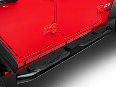 Black Horse Off Road 3 in. Side Step Bars - Black (2018 Jeep Wrangler JL 4 Door)