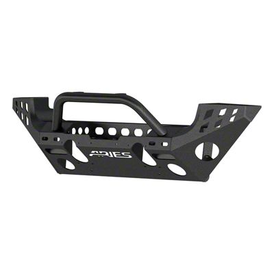Aries Automotive TrailChaser Aluminum Full Width Front Bumper w/ Center Brush Guard - Textured Black (07-18 Jeep Wrangler JK)