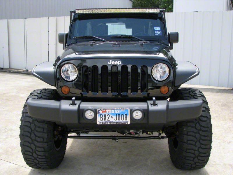 N-Fab 50 in. LED Light Bar Windshield Mounting Brackets - Textured Black (07-18 Jeep Wrangler JK)