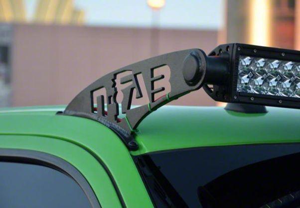N-Fab 50 in. Rigid E-Series LED Light Bar Windshield Mounting Brackets - Textured Black (07-18 Jeep Wrangler JK)