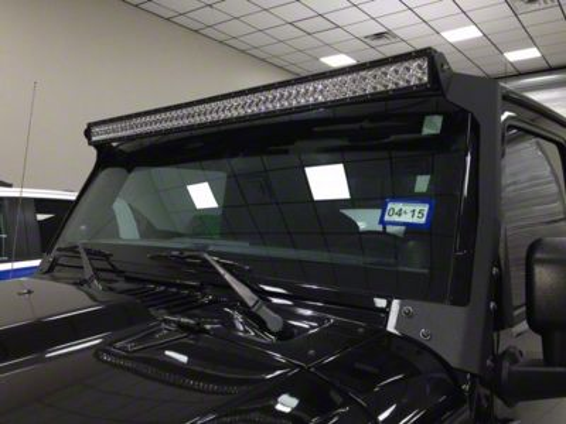 N-Fab 50 Series LED Light Bar Windshield Mounting Brackets - Textured Black (07-18 Jeep Wrangler JK)