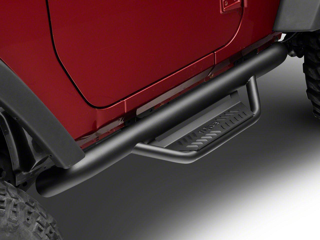 N-Fab Cab Length Podium Nerf Side Step Bars - Textured Black (07-18 Jeep Wrangler JK 2 Door)