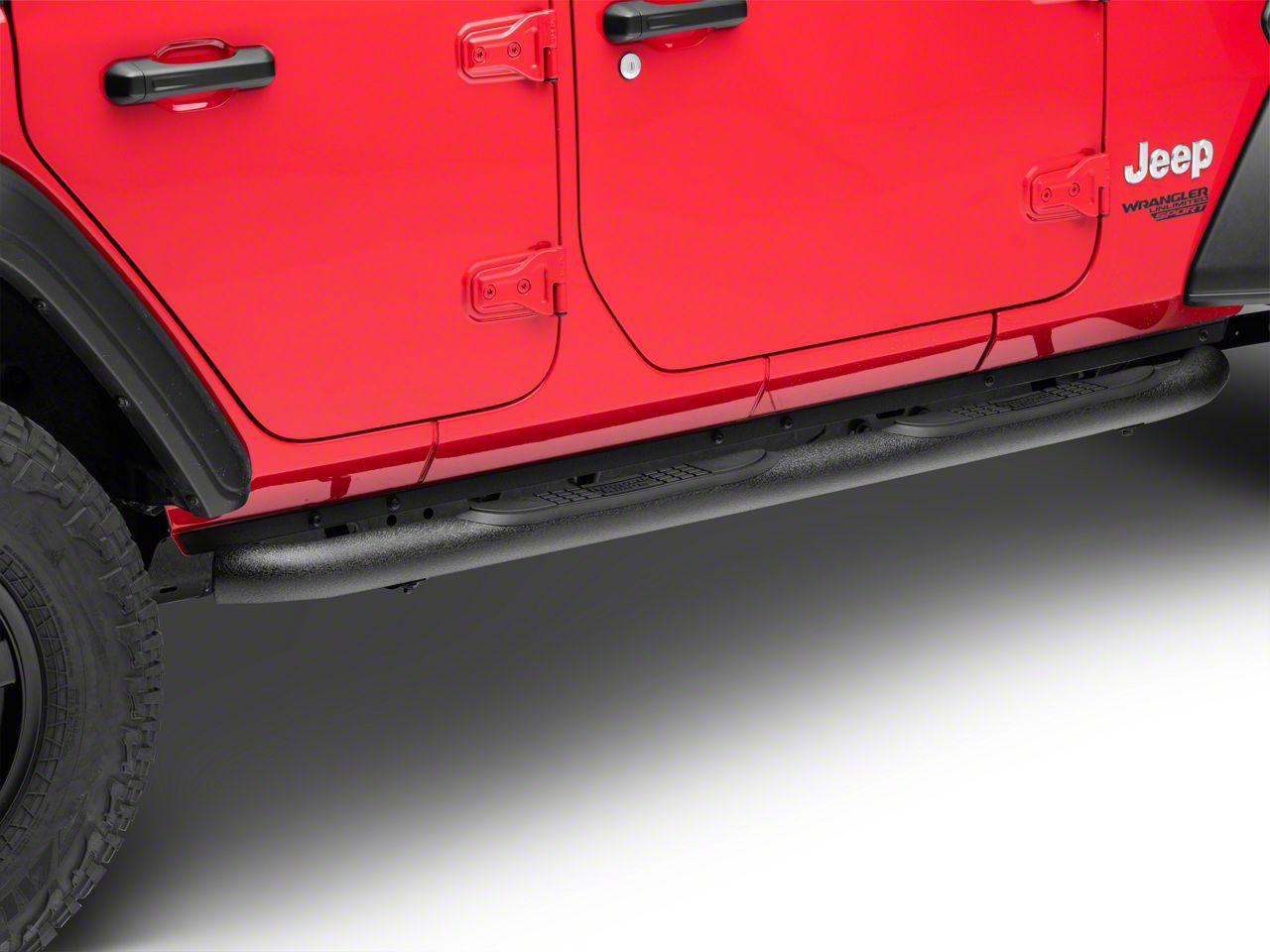 Rugged Ridge 3 in. Round Side Step Bars - Black (2018 Jeep Wrangler JL 4 Door)