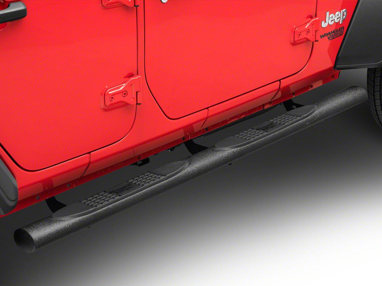 Rugged Ridge 4 in. Oval Side Step Bars - Black (18-19 Jeep Wrangler JL 4 Door)