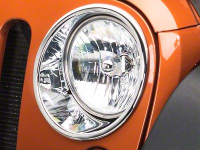Rugged Ridge Headlight Trim - Chrome (07-18 Jeep Wrangler JK)