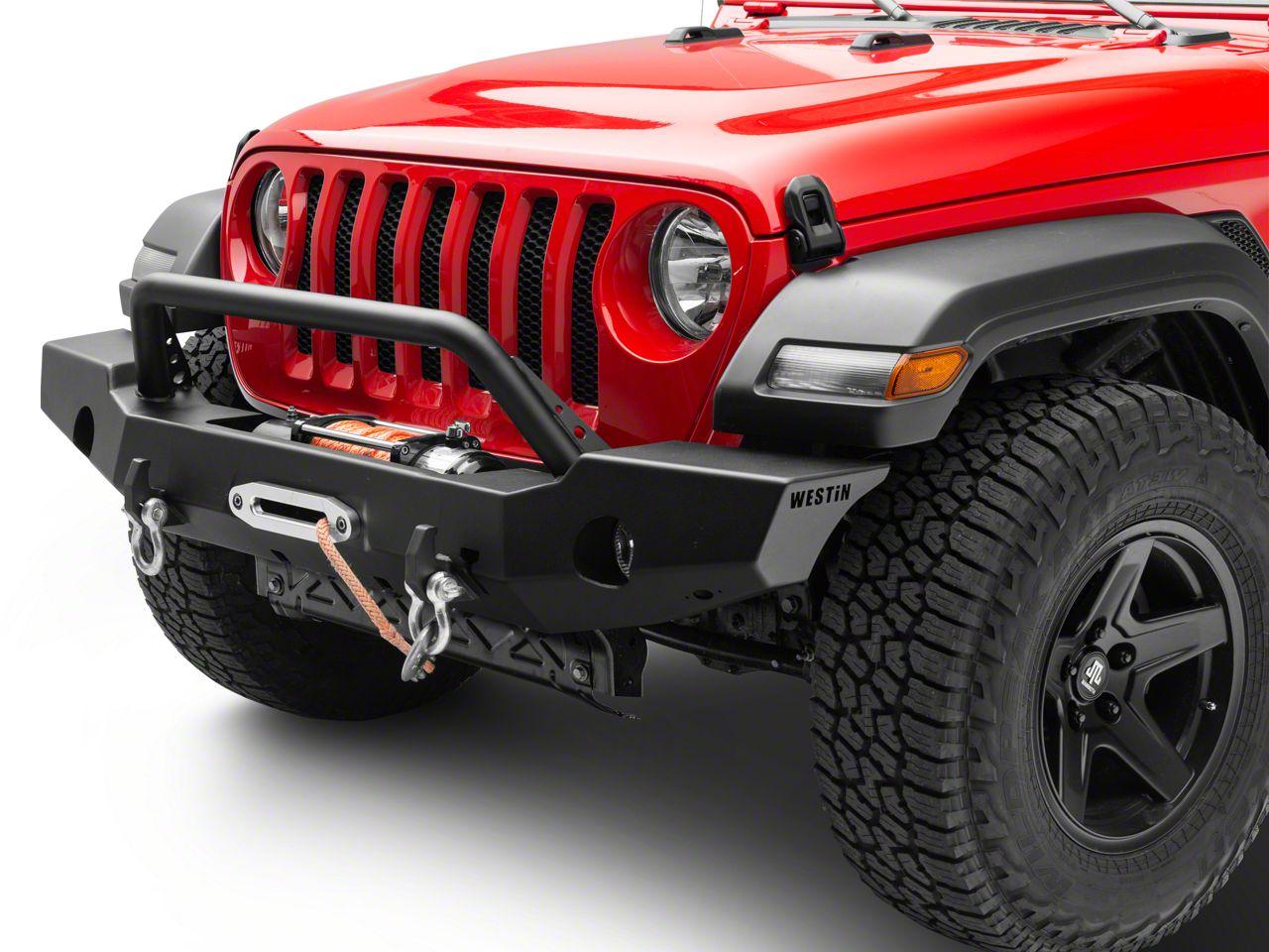 Westin WJ2 Full Width Front Bumper w/ Bull Bar - Textured Black (18-19 Jeep Wrangler JL)